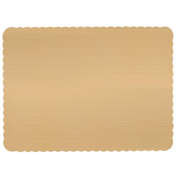 "18 3/4"" x 13 3/4"" Gold Laminated Rectangular Corrugated 1/2 Sheet Cake Pad - 50/Bundle Main Image 1"