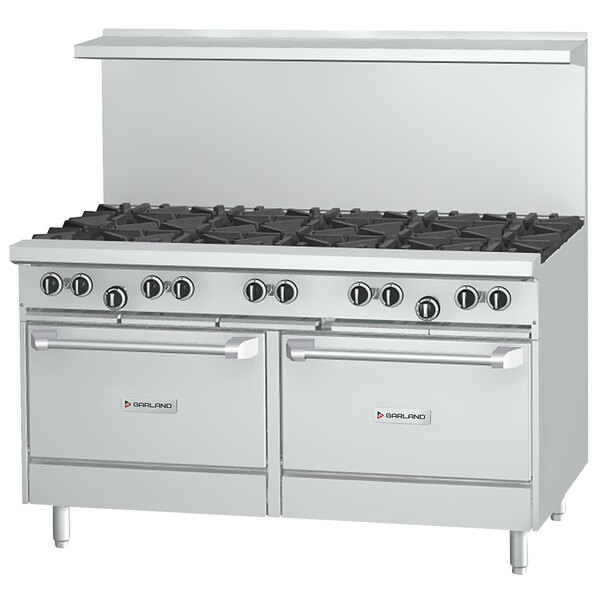 """Garland G60-10RC Natural Gas 10 Burner 60"""" Range with 1 Standard Oven and 1 Convection Oven - 406,000 BTU Main Image 1"""