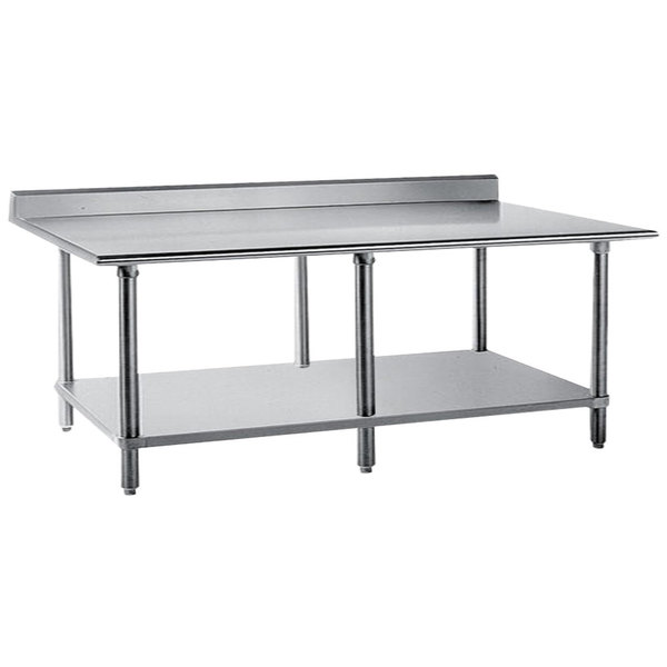 """Advance Tabco KSS-368 36"""" x 96"""" 14 Gauge Work Table with Stainless Steel Undershelf and 5"""" Backsplash"""