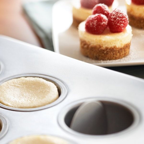 """Fox Run 12 Mold Non-Stick Carbon Steel Mini Cheesecake Pan with Removable Bottom - 13 7/8"""" x 10 5/8"""" Main Image 3"""