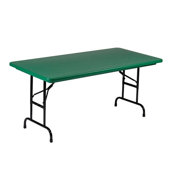 "Correll R-Series R2448 24"" x 48"" Green Plastic Folding Table"