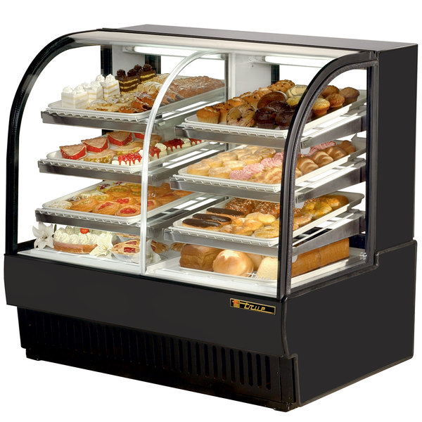 True TCGDZ-50 50 inch Black Curved Glass Dual Zone Dry / Refrigerated Bakery Case - 27 Cu. Ft.