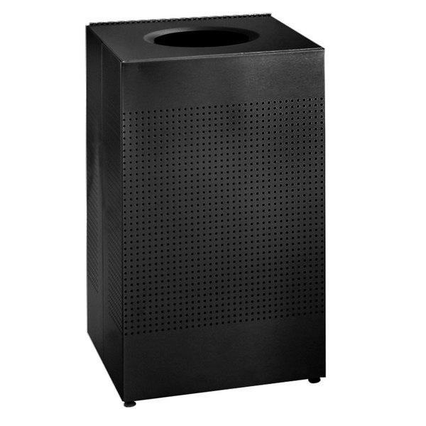 Rubbermaid FGSC22ERBTBK Silhouettes Black Steel Designer Waste Receptacle - 50 Gallon