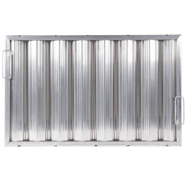 "All Points 26-1759 16""(H) x 25""(W) x 2""(T) Aluminum Hood Filter - Ridged Baffles Main Image 1"