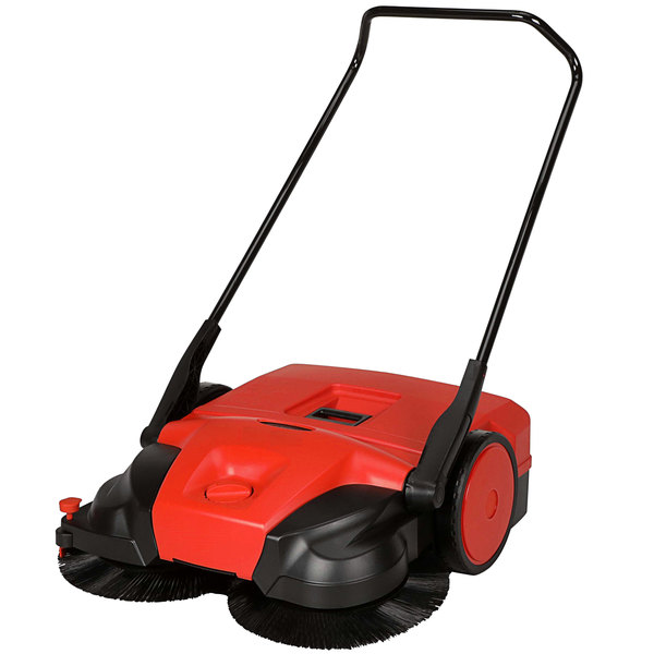 """Bissell Commercial BG-477 31"""" Triple Brush Manual Outdoor Power Sweeper Main Image 1"""