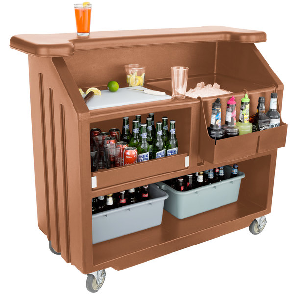 "Cambro BAR540157 Cambar Coffee Beige 54"" Portable Bar with 5-Bottle Speed Rail"