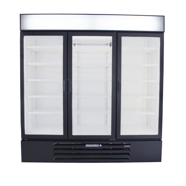 "Beverage-Air LV72HC-1-B LumaVue 75"" Black Refrigerated Glass Door Merchandiser with LED Lighting"