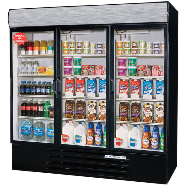 "Beverage Air LV72Y-1-B-LED Black LumaVue 75"" Refrigerated Glass Door Merchandising Refrigerator with LED Lighting- 72 Cu. Ft."