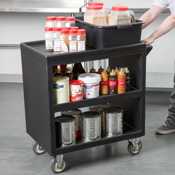 "Cambro BC230110 Black Three Shelf Service Cart - 33 1/4"" x 20"" x 34 5/8"""