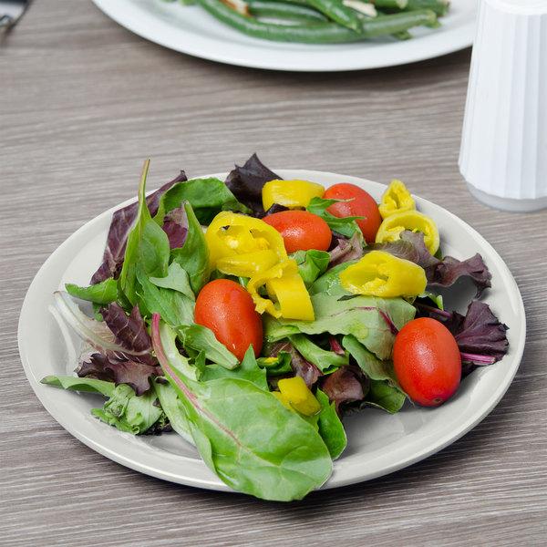 """Carlisle 3300642 Sierrus 7 1/4"""" Bone Narrow Rim Melamine Salad Plate - 48/Case"""