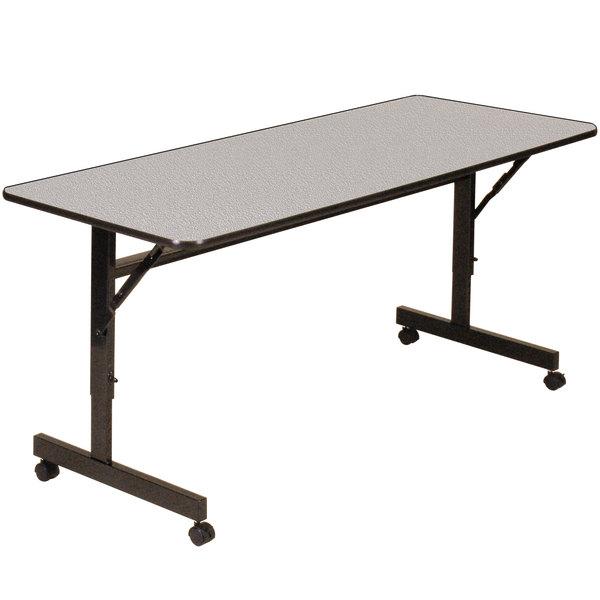 "Correll EconoLine Mobile Flip Top Table, 24"" x 48"" Adjustable Height Melamine Top, Gray - EconoLine Main Image 1"