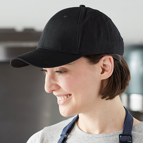 Mercer Culinary Black Customizable 6-Panel Chef / Baseball Cap Main Image 3