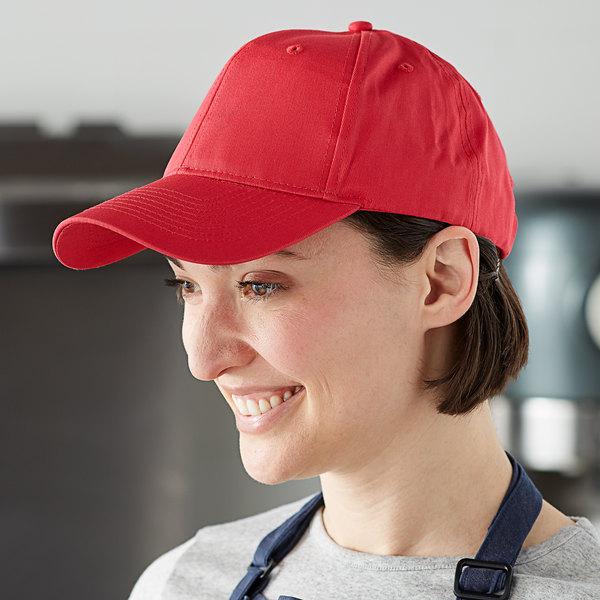 Mercer Culinary Red Customizable 6-Panel Chef / Baseball Cap Main Image 3