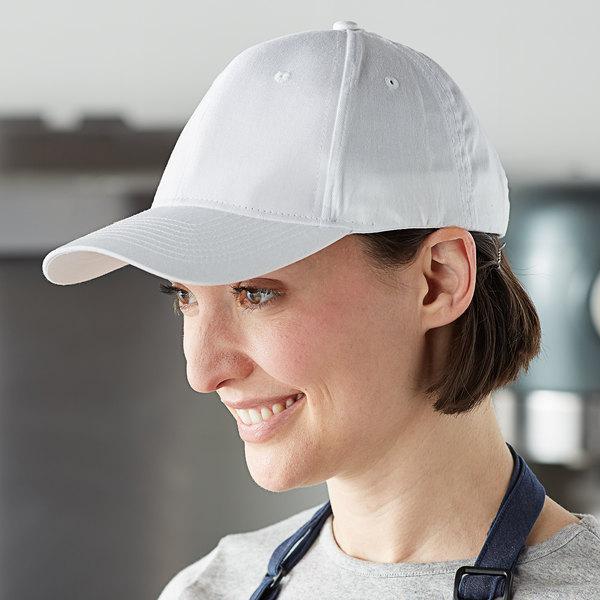 Mercer Culinary White Customizable 6-Panel Chef / Baseball Cap Main Image 3