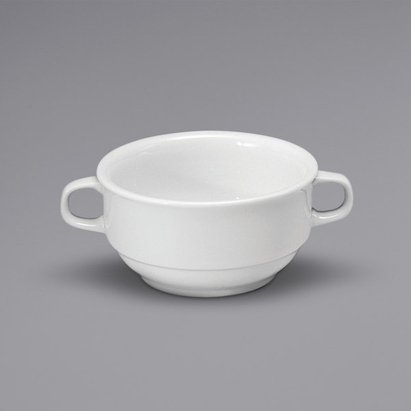 Noritake N7010000706 Ovation 10 oz. Bright White Stackable Porcelain Bouillon Cup with Handles by Oneida - 36/Case Main Image 1