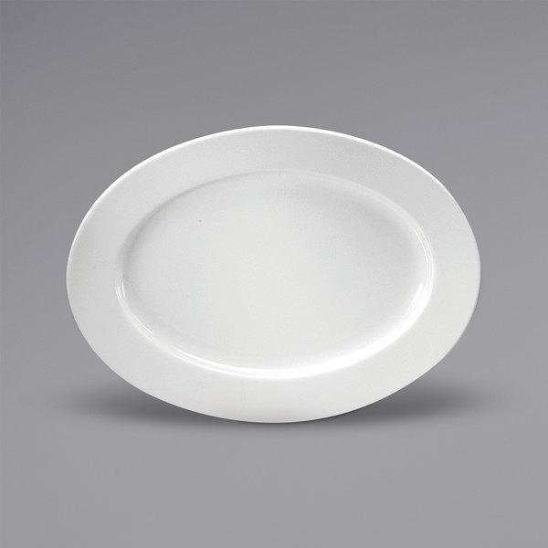 "Noritake N7010000350 Ovation 10 3/8"" x 7 3/4"" Oval Bright White Wide Rim Porcelain Platter by Oneida - 36/Case Main Image 1"