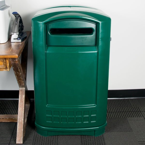 Rubbermaid FG396900DGRN Plaza Paper Recycling Container - Green Main Image 10