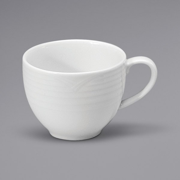 Noritake N7020000520 Glacier 6.75 oz. Bright White Embossed Porcelain Low Cup by Oneida - 36/Case Main Image 1