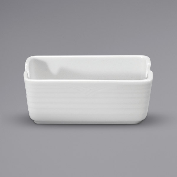 "Noritake N7020000906 Glacier 4 5/8"" x 2 3/4"" Bright White Embossed Porcelain Sugar Caddy by Oneida - 36/Case Main Image 1"