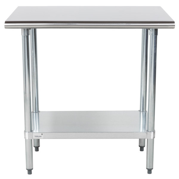 """Advance Tabco GLG-243 24"""" x 36"""" 14 Gauge Stainless Steel Work Table with Galvanized Undershelf"""