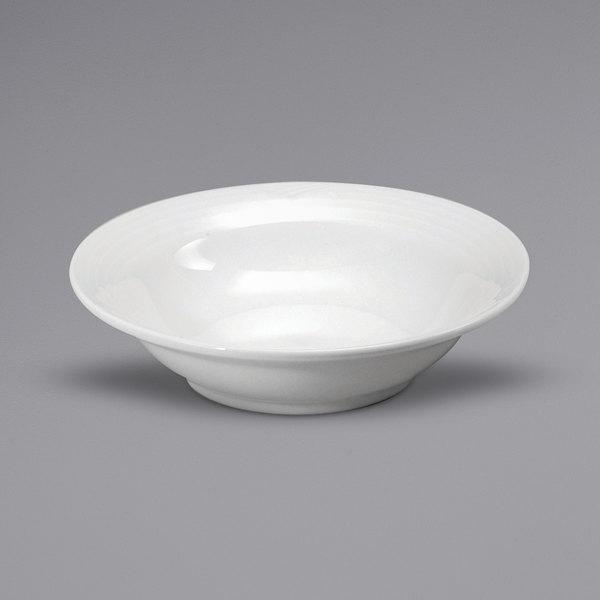 Noritake N7020000710 Glacier 8 oz. Bright White Embossed Porcelain Fruit Bowl by Oneida - 36/Case Main Image 1