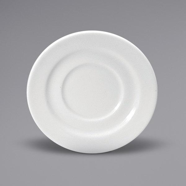 "Noritake N7010000505 Ovation 4 1/2"" Bright White Wide Rim Porcelain Saucer by Oneida - 36/Case Main Image 1"