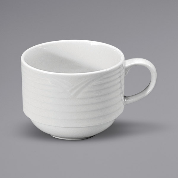 Noritake N7020000530 Glacier 7.5 oz. Bright White Stackable Embossed Porcelain Cup by Oneida - 36/Case Main Image 1