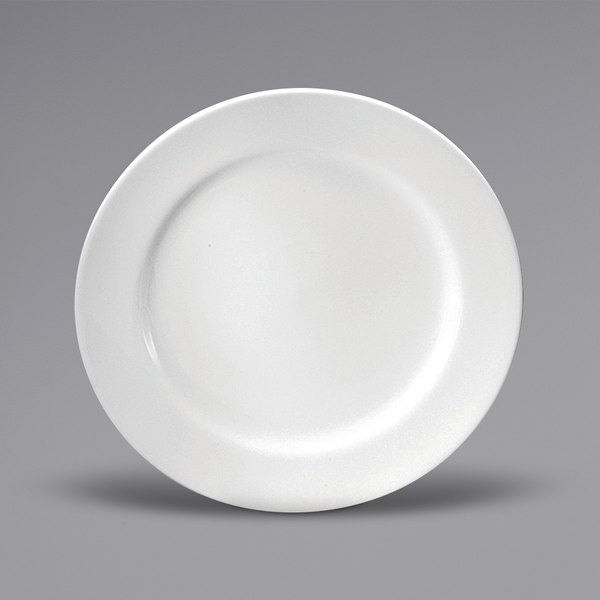 "Noritake N7010000157 Ovation 11 3/8"" Bright White Wide Rim Porcelain Plate by Oneida - 12/Case Main Image 1"