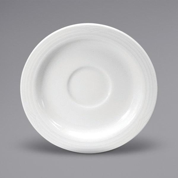 "Noritake N7020000505 Glacier 4 3/4"" Bright White Embossed Porcelain Espresso Saucer by Oneida - 36/Case Main Image 1"