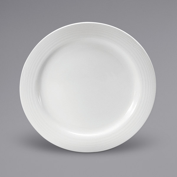 "Noritake N7020000160 Glacier 11 5/8"" Bright White Embossed Medium Rim Porcelain Plate by Oneida - 12/Case Main Image 1"
