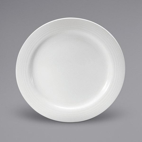 "Noritake N7020000152 Glacier 10 5/8"" Bright White Embossed Medium Rim Porcelain Plate by Oneida - 12/Case Main Image 1"