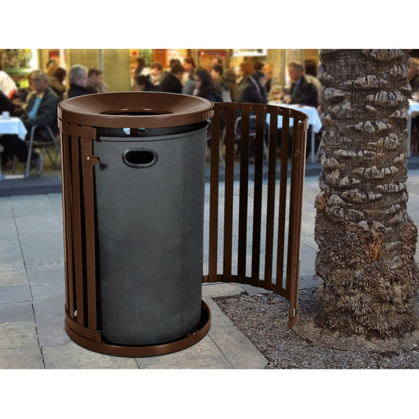 Ex Cell Kaiser Sctp 40 Cof Streetscape Coffee Gloss 45 Gallon Round Outdoor Trash Receptacle