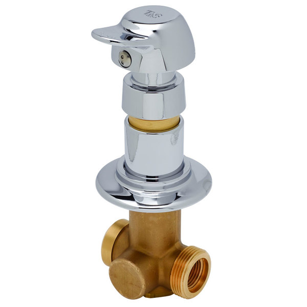 """T&S B-1029-PA Concealed Straight Valve with 1/2"""" NPT Female Inlet and Outlet and Vandal Resistant Pivot Action Metering Cartridge - ADA Compliant"""
