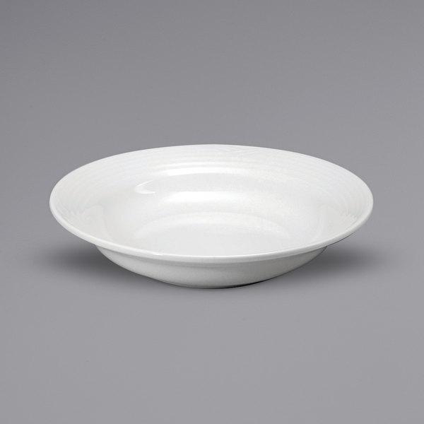 Noritake N7020000745 Glacier 17 oz. Bright White Medium Rim Embossed Porcelain Soup Plate by Oneida - 36/Case Main Image 1