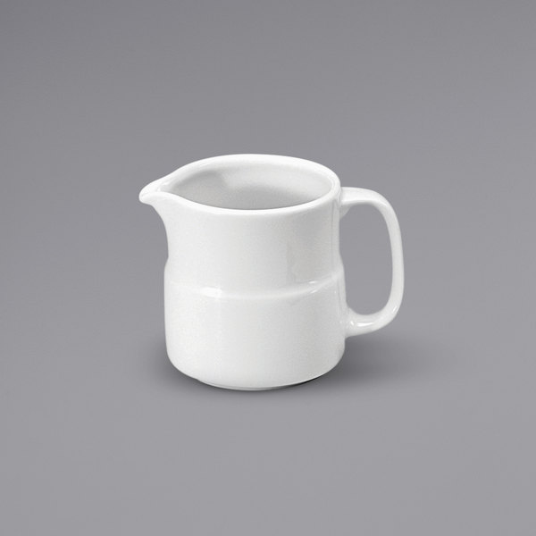 Noritake N7010000805 Ovation 5 oz. Bright White Porcelain Creamer by Oneida - 12/Case Main Image 1