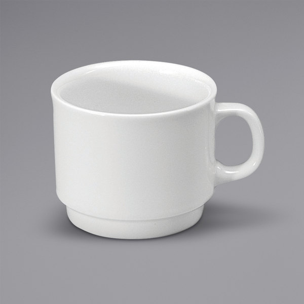 Noritake N7010000531 Ovation 6.75 oz. Bright White Stackable Porcelain Cup by Oneida - 36/Case Main Image 1