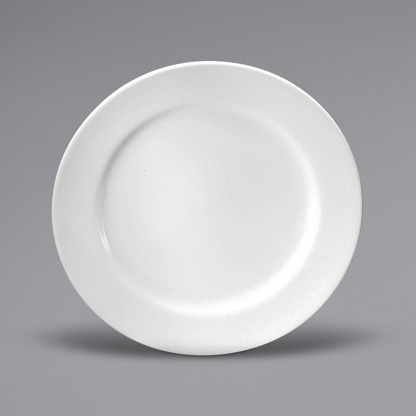 """Noritake N7010000152 Ovation 10 1/2"""" Bright White Wide Rim Porcelain Plate by Oneida - 12/Case Main Image 1"""