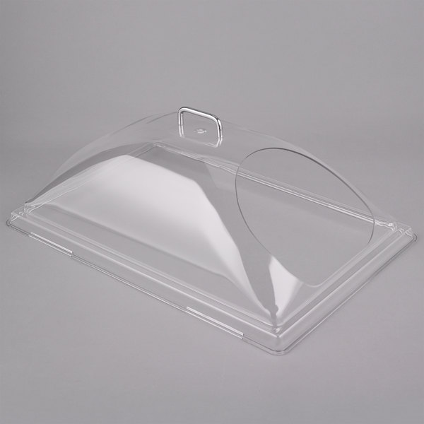 """Cambro DD1220ECW Camwear 12"""" x 20"""" Clear Dome Display Cover with 1 End Cut"""