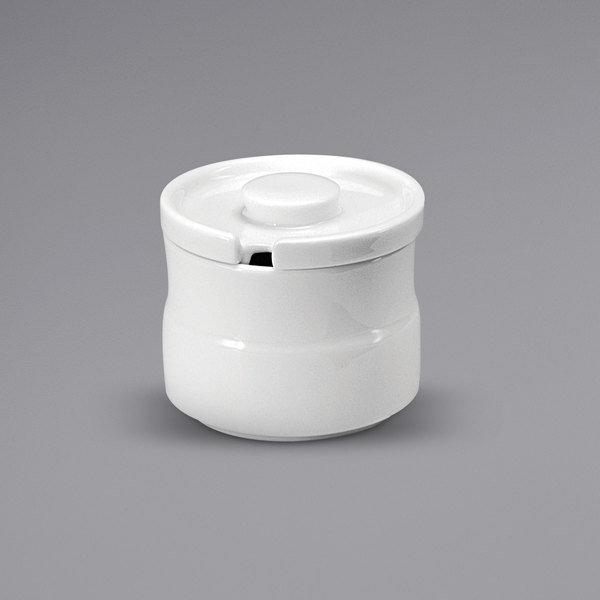 Noritake N7010000900 Ovation 6.75 oz. Bright White Porcelain Sugar Bowl with Lid by Oneida - 12/Case Main Image 1