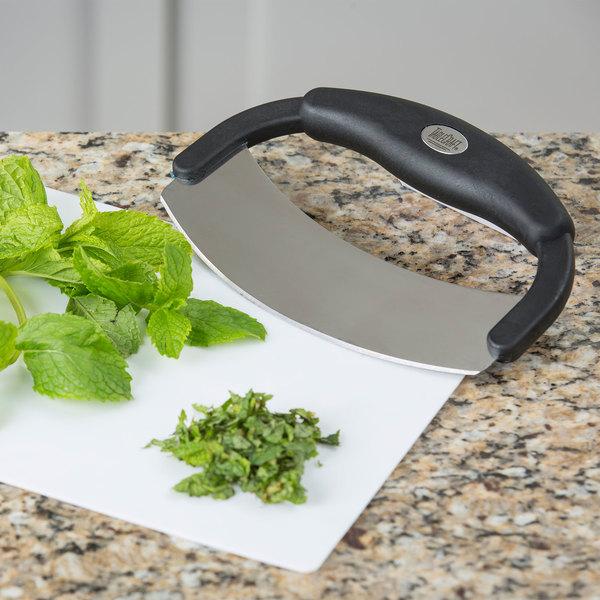 "Tablecraft H6611 7 1/2"" Single Blade Mezzaluna Knife with Single Silicone Handle"