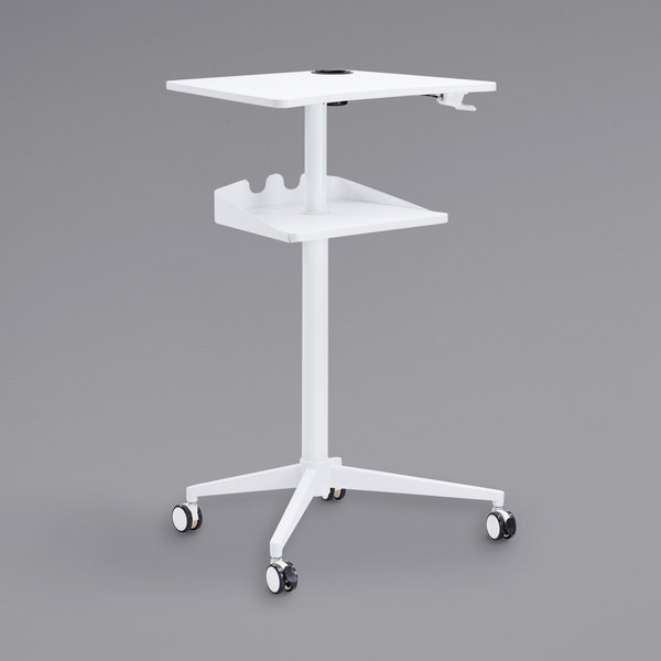 """Safco 1944WH 30 3/4"""" x 22 7/8"""" White Adjustable Height Stand-Up Mobile Workstation Main Image 1"""