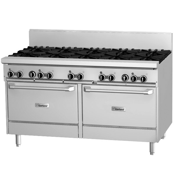 "Garland GF60-10RR Natural Gas 10 Burner 60"" Range with Flame Failure Protection and 2 Standard Ovens - 336,000 BTU Main Image 1"
