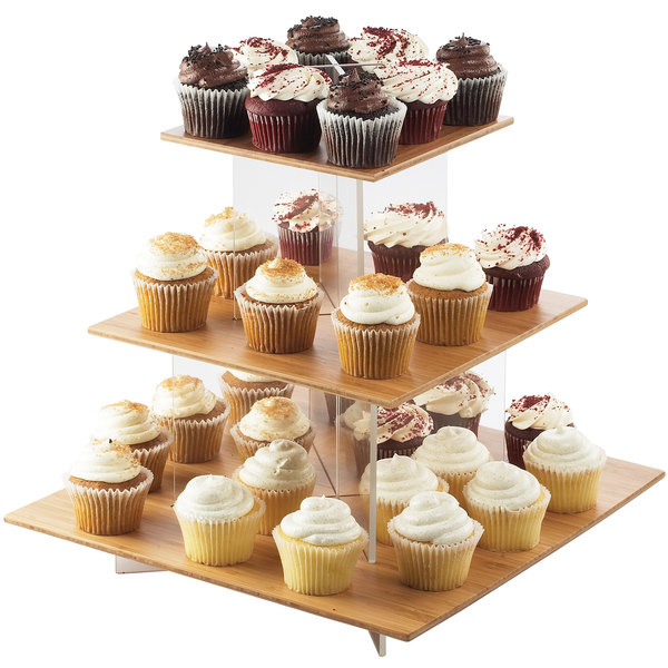"Cal-Mil 1318-60 Cupcake Display with Bamboo Shelves - 20"" x 20"" x 17 1/4"""