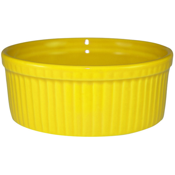 International Tableware RAMF-8-Y Cancun 6 oz. Yellow Stoneware Fluted Souffle / Ramekin - 36/Case Main Image 1