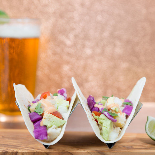 Stainless Steel Taco Holder with 1 or 2 Compartments - 4\  x 4\  x 2\  & Steel Taco Holder with 1 or 2 Compartments - 4\