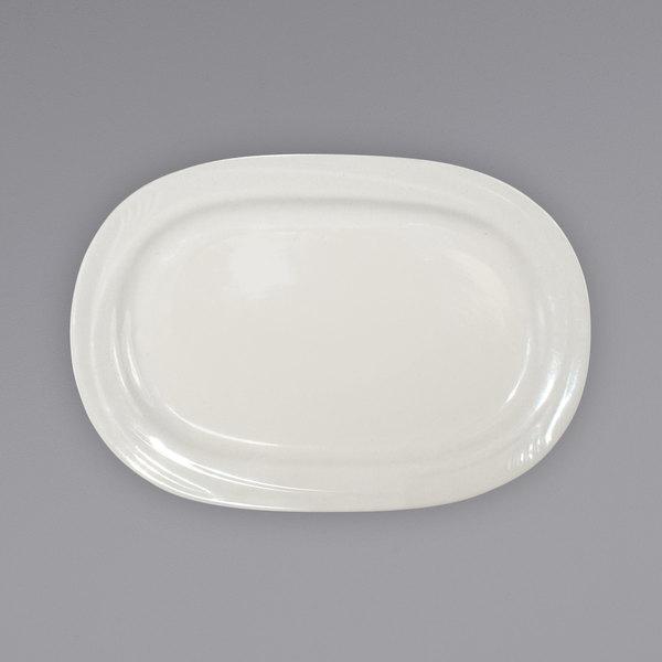 "International Tableware NP-13 Newport 12"" x 8 7/8"" Ivory (American White) Embossed Stoneware Platter - 12/Case Main Image 1"