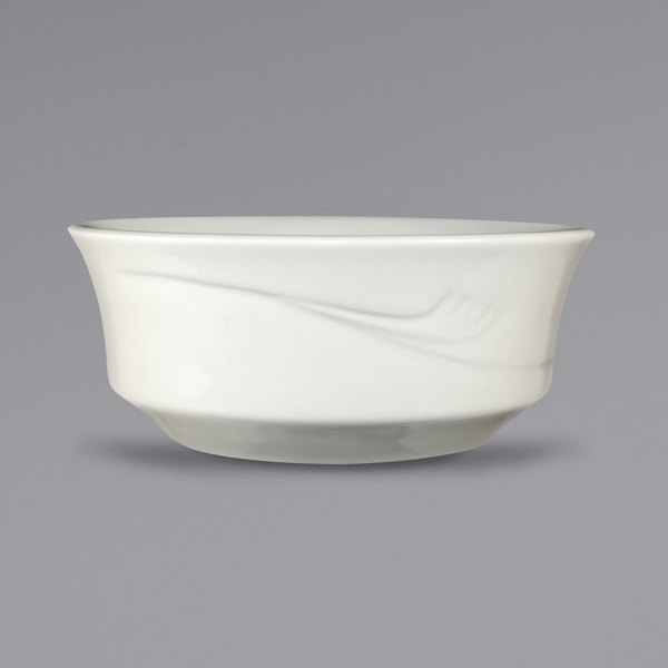 International Tableware NP-15 Newport 13 oz. Ivory (American White) Embossed Stoneware Nappie / Oatmeal Bowl - 36/Case Main Image 1