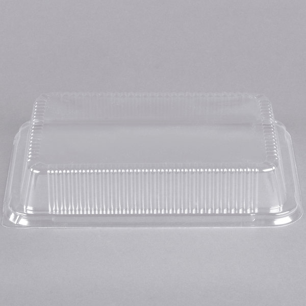 "Durable Packaging P4700-250 Clear Dome Lid for 13"" x 9"" Foil Cake Pan - 25/Pack Main Image 1"