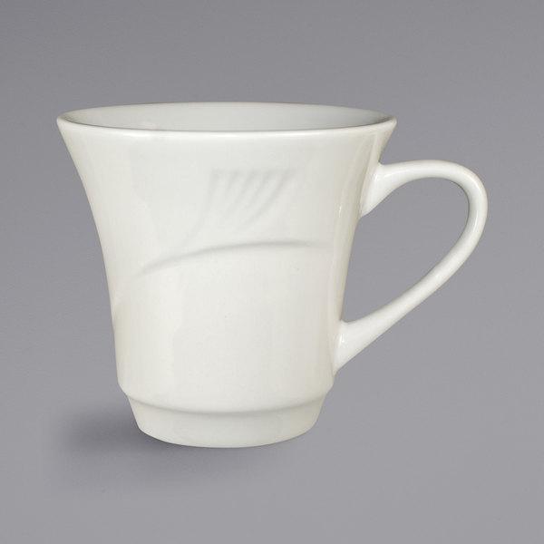 International Tableware NP-71 Newport 7 oz. Ivory (American White) Embossed Stoneware Petal Cup - 36/Case Main Image 1