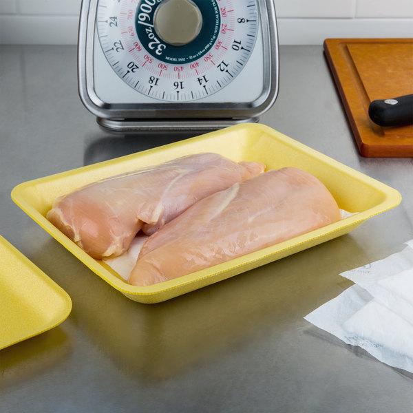 "CKF 87899 (#4PR) Yellow Foam Meat Tray 9 1/4"" x 7 1/4"" x 1 1/4"" - 500/Case Main Image 3"